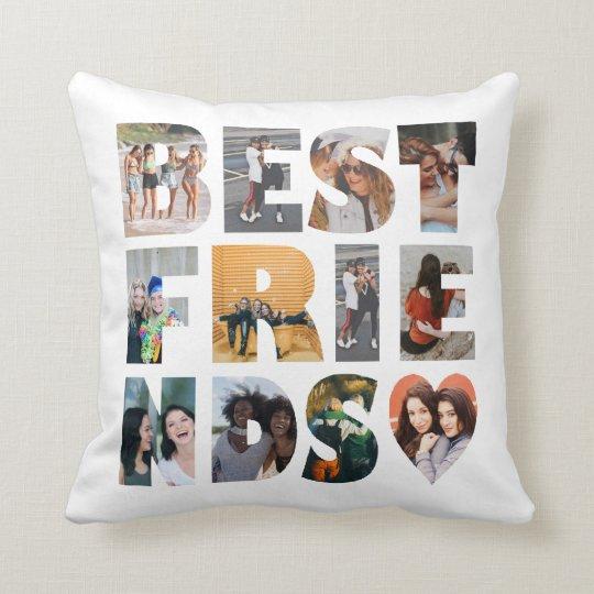 Modern Best Friends 12 Photo Collage BFF Besties Throw Pillow