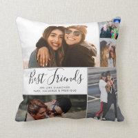 Modern Best Friends Collage BFF Besties Chic Quote Throw Pillow