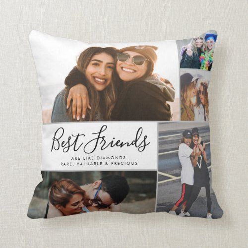 Modern Best Friends Collage BFF Besties Chic Quote Throw Pillow