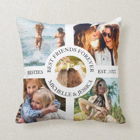 Modern Best Friends Forever Photo Collage | Bestie Throw Pillow