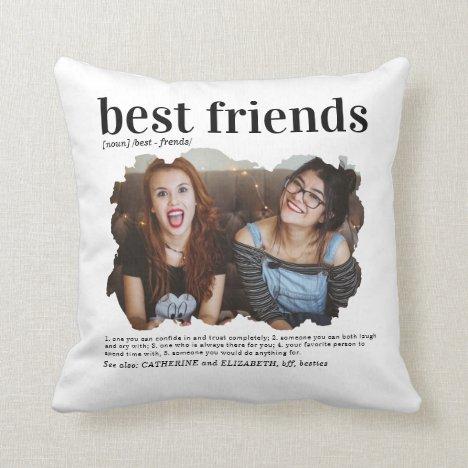 Modern Best Friends Photo Dictionary Definition Throw Pillow