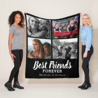 Modern Best Friends Photo Fleece Blanket