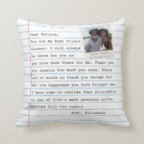 Modern Best Friends Photo Notebook Letter Message  Throw Pillow