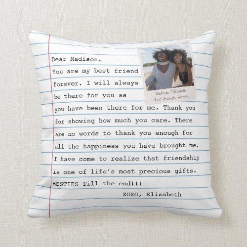 Modern Best Friends Photo Notebook Letter Message  Throw Pillow