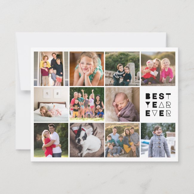 Modern Best Year Ever 11 Photo Custom Greeting Holiday Card