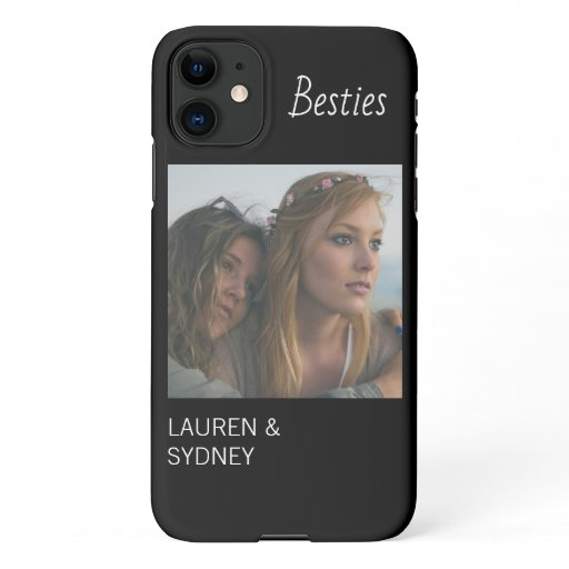 Modern Bestie Black Friends Photo Custom iPhone 11 Case