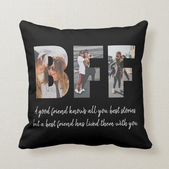 Modern BFF Photo Best Friend Besties Quote Black Throw Pillow