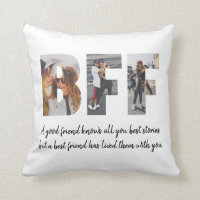 Modern BFF Photo Collage Best Friend Besties Quote Throw Pillow