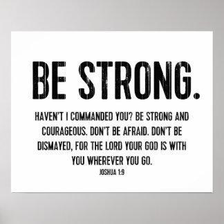 Modern Bible Verse Christian Be Strong Print