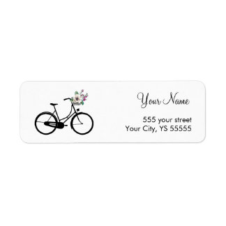 Modern Bicycle Design with flower basket Label