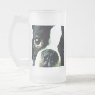 modern big Boston Terrier Frosted Glass Beer Mug