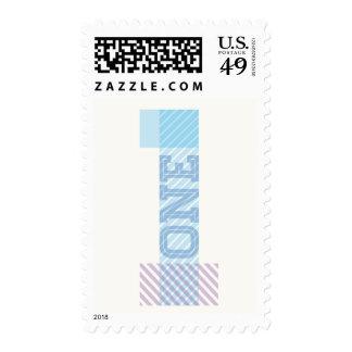Modern Big Number 1 One Boy 1st Birthday Stamps