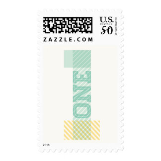 Modern Big Number 1 One Green 1st Birthday Stamps