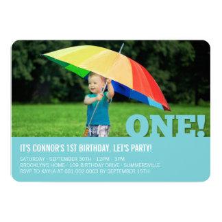 Modern Big ONE Fun Baby Boy Photo First Birthday Card