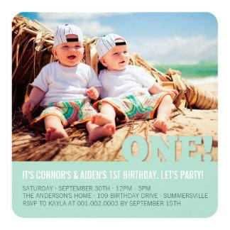 Modern Big ONE Fun Baby Twins Photo First Birthday Card