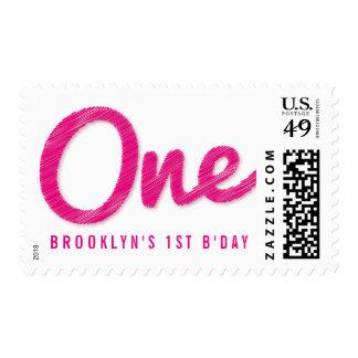 Modern Big Sketch Pink One Girl 1st Birthday Stamp