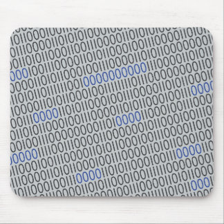 Modern Binary Code Black Blue on any Color Mouse Pad