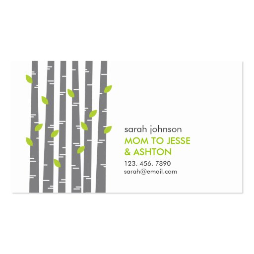 For mom business card templates bizcardstudio modern birch in grass mommy calling card business card template colourmoves