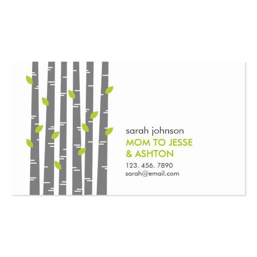 Modern Birch in Grass Mommy Calling Card Business Card Template