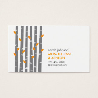 Modern Birch in Tangerine Mommy Calling Card