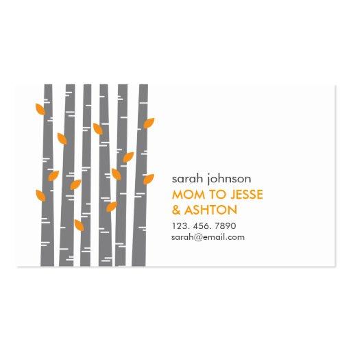Modern Birch in Tangerine Mommy Calling Card Business Card