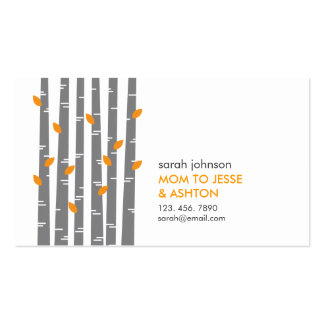 Modern Birch in Tangerine Mommy Calling Card Double-Sided Standard Business Cards (Pack Of 100)