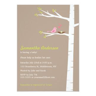 """Modern Bird Birch Baby Shower Invitation Neutral 5"""" X 7"""" Invitation Card"""