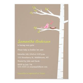 Modern Bird Birch Baby Shower Invitation Twin Girl