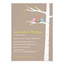 "Modern Bird Couples Baby Shower Invitation Neutral 5"" X 7"" Invitation Card"