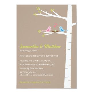 Modern Bird Couples Baby Shower Invitation Neutral