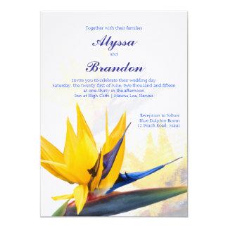 Modern Bird of Paradise Hawaiian Wedding Invite