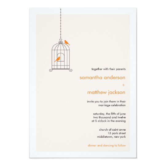 Wedding Invitations Birdcage: Modern Birdcage Wedding Invitation - Orange