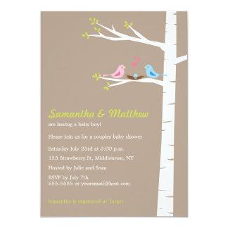 Modern Birds Couples Baby Shower Invitation Boy