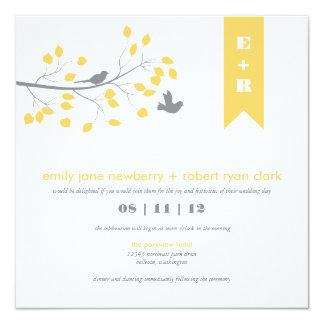"Modern Birds Wedding Invitation 5.25"" Square Invitation Card"