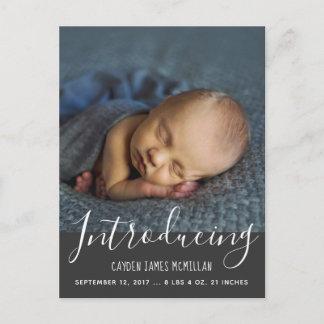 Modern Birth Announcement Photo Postcard