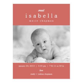 MODERN Birth Announcement Postcard