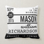 "Modern Birth Baby Boy Personalized Nursery Pillow<br><div class=""desc"">A modern typography design that mixes fonts and bold style to create a contemporary record of baby&#39;s birth in black and white. Coordinating black and white random dot pattern on the back.</div>"