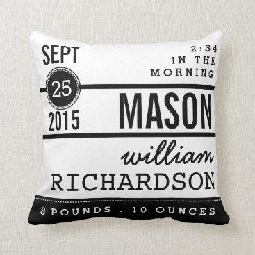 kat_parrella Modern Birth Baby Boy Personalized Nursery Pillow