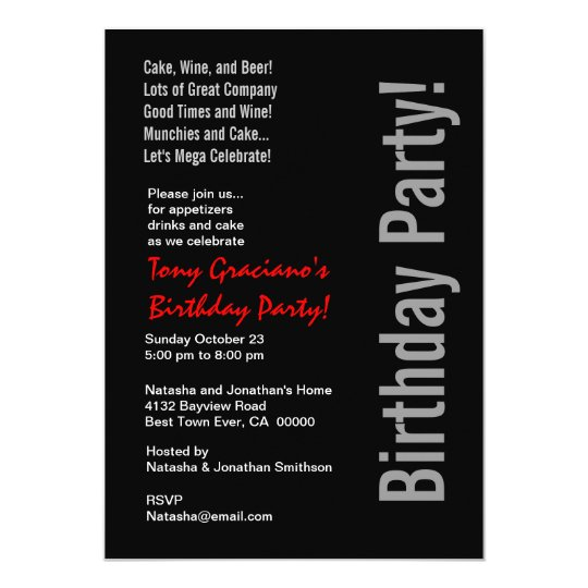 Modern Birthday Black White Red Template