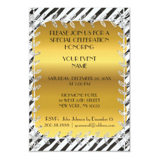Modern Birthday Black White Stripes Vip Invitation