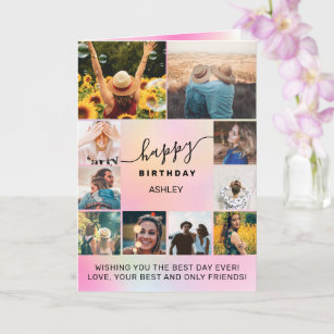 Modern birthday holographic 10 photo collage grid card