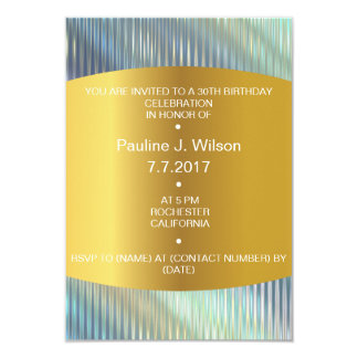Modern Birthday Invitation Golden Lines Gray Vip