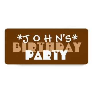 Modern Birthday Party BROWN and TAN A03 Card