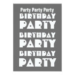 Modern Birthday Party Gray and White W1010 Personalized Invitation