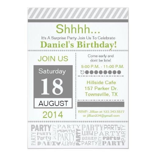 Modern Birthday Party Invitation basic grey
