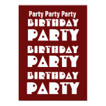 Modern Birthday Party Maroon and White W1009 Announcements