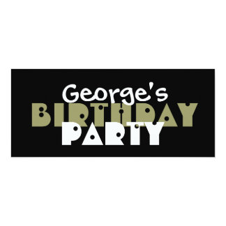 Modern Birthday Party Olive Green and Black Custom 4x9.25 Paper Invitation Card