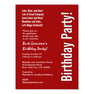 Modern Birthday Party Red and White LARGE Template 6.5x8.75 Paper Invitation Card
