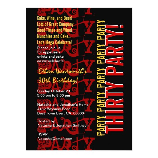 Modern Birthday Red Gold Black Grunge LARGE Card