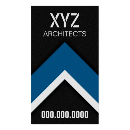Stylish Modern Black and Blue Residential Architects Business Card Template